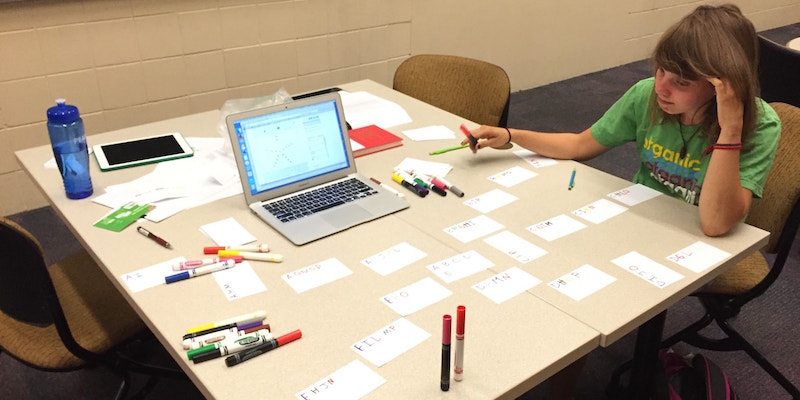 A student works on a summer research project.