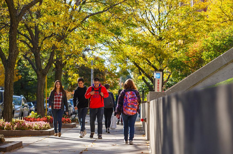 Students walking on the Lincoln Park Campus