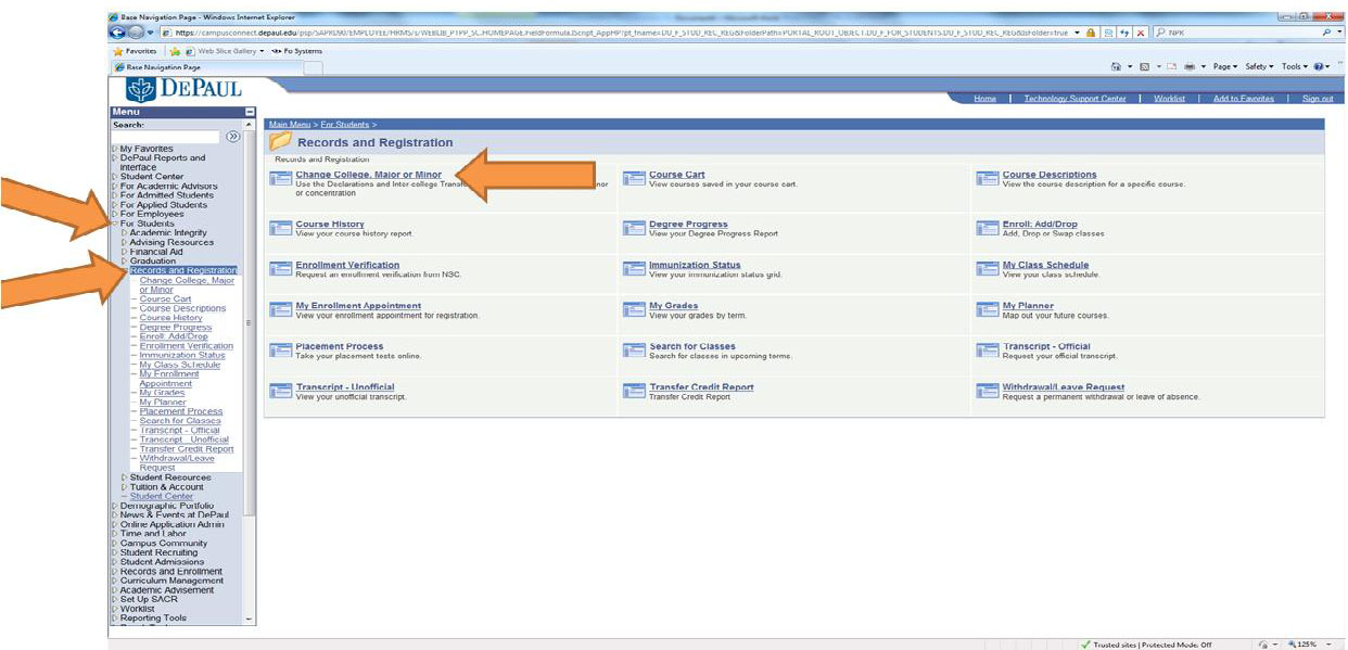 screenshot of where the Change Manjor/Minor form is in Campus Connect